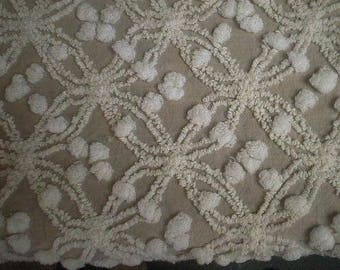 """Cabin Craft MOCHA with WHITE Mini Double Wedding Rings and POPS Vintage Chenille Bedspread Fabric  18"""" X 36"""""""