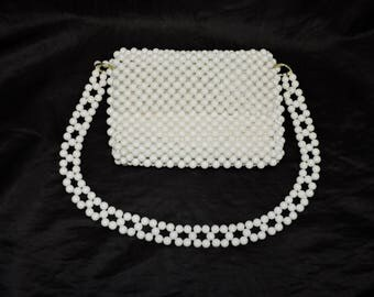 Vintage 60s ADG White Woven Plastic Beads Purse With Shoulder Strap Made in Japan Hippie Boho Beaded