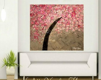SALE ORIGINAL HUGE Landscape Abstract  Pink Cherry Blossoms Oil Painting Thick Texture Gallery Fine Art -Nicolette Vaughan Horner