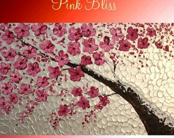 """SALE Oil White Pearl Pink Cherry Blossom painting Abstract Original Modern 36"""" palette knife impasto oil painting by Nicolette Vaughan Horne"""