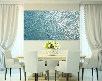 "SALE XLarge Aqua Pearl Oil Landscape Abstract Original 48"" palette knife oil  impasto oil painting by Nicolette Vaughan Horner"