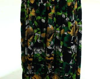 Vintage 80s Kamy Black Green Floral Tea Skirt UK 12 US 10
