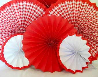 Gingham Decorations Birthday 6 Gingham Hanging Fans Baby Shower Pinwheels Birthday Decoration Picnic Backdrop Gingham Decoration Barbecue