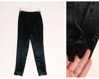 Black Cherry Blossom High Waisted Express Vintage 90s Pants