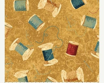 12% off thru July A Stitch In Time sewing needle and thread on gold cotton print by the 1/2 yard Northcott STONEHENGE fabric 21332-34