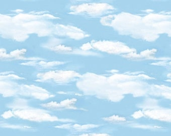 20 % off thru 8/20 OH DEER! Light blue sky clouds white cotton print by the 1/2 yard Wilmington fabric-30164-401