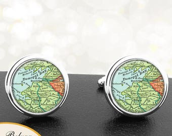 Map Cufflinks Sligo Ireland Handmade Cuff Links Irish City Maps Groomsmen Weddings Fathers Dads