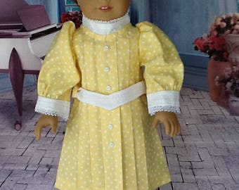 18 inch doll dress. Fits dolls like American Girl, Our Generation, and Daisy Kingdom.  Yellow pleated dress.