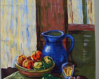 Vtg. Vony France Tea Towel ~~ Le Cruche Bleue / Blue Jug