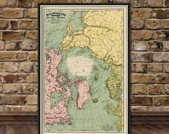 "Map of North Pole regions -  Arctica map fine print - 16 x 24"""