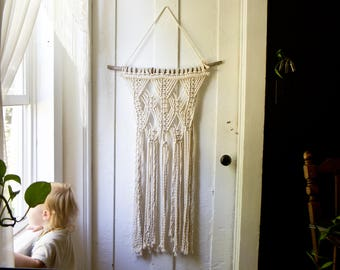 Handmade Macrame Wall Hanging Layered Macrame Fiber Art Boho Wall Bohemian Decor Cotton Weaving