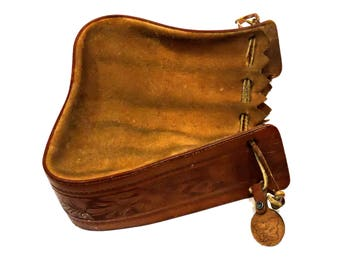Dale Evans Original Drawstring Stirrup Purse, Vintage Brown Suede and Tooled Leather Western Cowgirl Hand Bag itsyourcountry