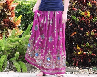 Purple Gypsy Skirt, Maxi Skirt, Long Indian Skirt, Bohemian Sequin Skirt, Bollywood Belly Dance Skirt, Boho Festival Clothing, Peasant Skirt