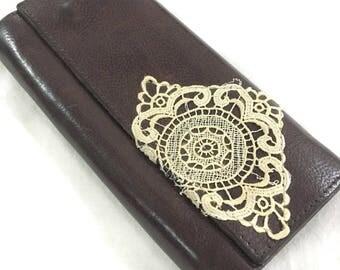 Vintage Leather Wallet Lace