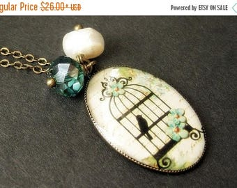 SUMMER SALE Birdcage Necklace in Cream with Teal Crystal Charm and Fresh Water Pearl. Handmade Jewelry.
