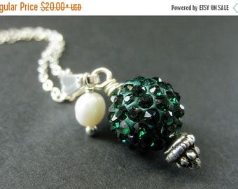 BACK to SCHOOL SALE Dark Green Kissing Ball Necklace. Rhinestone Necklace with Fresh Water Pearl. Handmade Jewelry.
