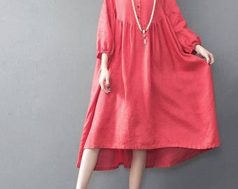 Summer long red oversized loose long dress yellow large size dresses