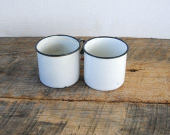 2 Vintage Enamelware Cups White with Black Trim