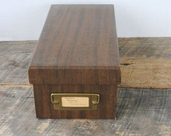 Vintage Amfile Faux Wood Index Card Box with Recipes