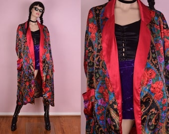 90s Floral Scarf Print Robe/ One Size/ 1990s