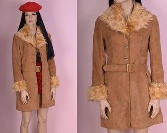 90s Shaggy Faux Fur Trim Faux Suede Coat/ Small/ 1990s/ Jacket