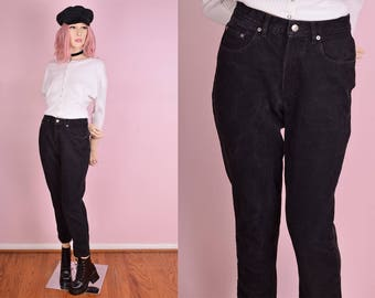 90s Black High Waisted Jeans/ US 6/ 1990s