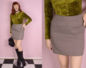 90s Cream and Brown Gingham Skirt/ US 10/ 1990s