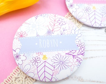 Floral Pocket Mirror - Personalised Pocket Mirror Gift - Gift For Her - Bridesmaid Gift - Thank You Bridesmaid - Stocking Filler