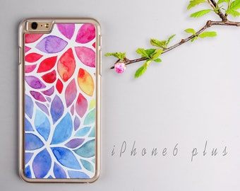 Watercolor Flower iPhone 6 plus case, Clear iPhone 6s plus Plastic case, iPhone 6s PC cover - HTPC6P05