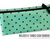 Cash organization wallet with 6 tabbed dividers | teal and navy laminated cotton