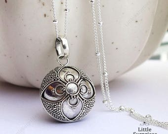 16mm Lucky Clover Sterling Silver Harmony Ball (Mexican Bola) Pendant Necklace LS94