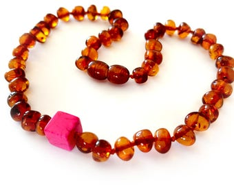 New NATURAL BALTIC AMBER Unique Baby Teething Necklace with Certificate of Authenticity