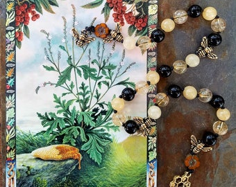 Blessed Bee Pagan Prayer Beads, Bee Magic, Meditation Beads, Witches Ladder, Pagan Rosary, Pocket Mala, Flower Magic