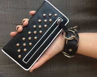 Black Studded Snap Wallet faux leather punk wallet; goth wallet