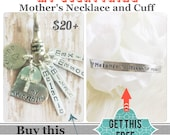 Buy One Get One Free My Everything Mother's Necklace and cuff Personalized hand stamped