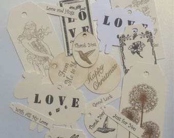 Set of 15 hand stamped tags