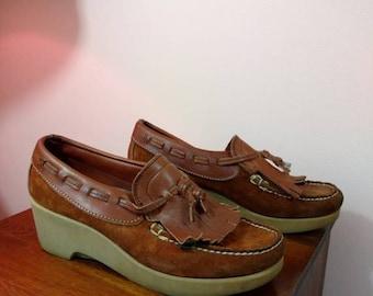 Summer Sale 9 N Vintage Dexter Platform Moccasin Shoes