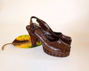 SIZE 9 1940s Peeptoe Crocodile Platform Heels Dark Brown Beleganti 9B
