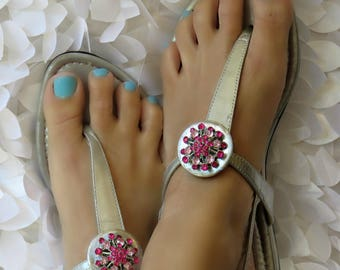 Flip Flop Clips, Pink and Silver Starburst, Flexible, Removable, Versatile Shoe Clips, Sandal Clips, Scarf Accessory, Boot Strap Accessory