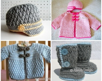 Crochet PATTERN Set Buttoned Baby Booties Baby Visor Hat Baby Jacket Newborn Baby Boy Baby Girl Crochet Patterns Baby Shower Christmas Gift