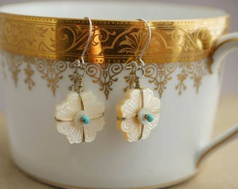 Mother of Pearl Carved Earrings Mother of Pearl and Turquoise Earrings BV25