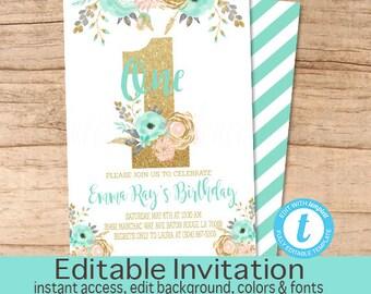 First Birthday Invitation, Peach Mint Gold Floral Invitation, Birthday invitation, Editable Birthday Invitation, Templett, Instant Download