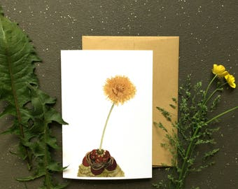 Quilted Dandelion // Blank Art Card // Woodland Illustration