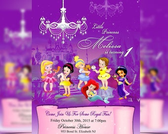 Disney Baby Princess, Disney Princesses , Princess Birthday Invitation - Personalized, Aurora, Snow White, Cinderella, Ariel, Belle, Jasmine