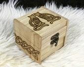 Wooden Rune Box - Freya's Cats, Bygul and Trjegul - Viking Jewelry Box - Heathen Woman Gift - Viking Woman Gift - Asatru Viking Gift for Her