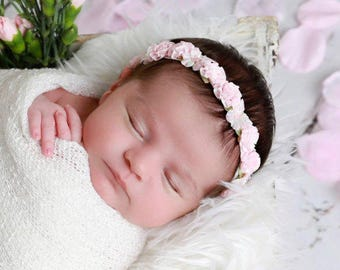 Pink Flower Halo Headband for newborn photo shoots, infant hairband, baby halo, wedding halo, by Lil Miss Sweet Pea