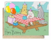 Illustrated cat greeting card