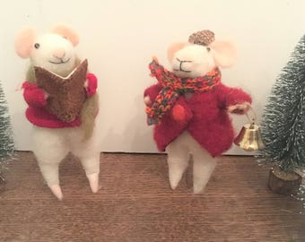 Hand-felted Christmas mice