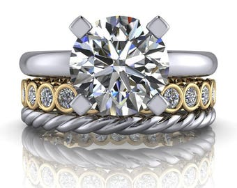 Bezel Set Eternity Band - Solitaire Engagement Ring - Moissanite Eternity Band - Insieme™ Bridal Stackables