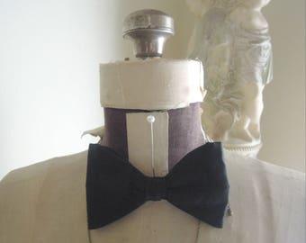 Vintage Black Velvet Bow Tie / Clip on Bow Tie / Wedding Tie /Black Tie / Ormond Bow Tie